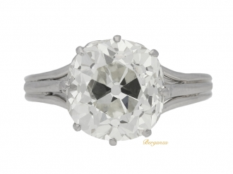 front view Solitaire old mine cushion shape diamond ring, circa 1920.
