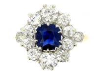 Antique sapphire and diamond cluster ring in platinum, French circa 1905.
