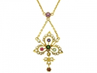 Antique Multi-Gem Set Necklace in 18ct Yellow Gold.