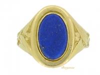 front-view-Art Nouveau lapis lazuli signet ring, circa 1900.