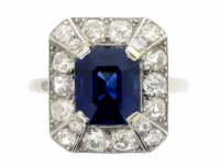 Art Deco Octagonal Sapphire and Diamond Cluster Ring.