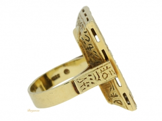 front-view-Theodor-Fahrner-Egyptian-Revival-ring,-German,-circa-1920.-berganza-hatton-garden