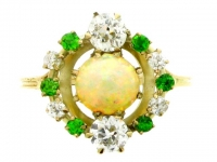 Antique Opal, Demantoid and Diamond Ring in Yellow Gold.