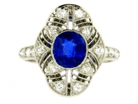 Sapphire and diamond cluster ring by Black Starr & Frost, circa 1920.
