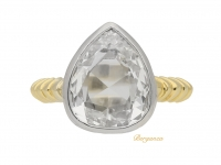 front view Solitaire drop shape diamond ring, circa 1965.
