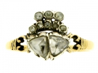 Georgian rose cut diamond heart ring, circa 1770.