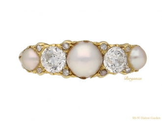 front-view-antique-diamond-pearl-ring-berganza-hatton-garden