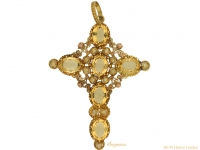 front-view-Georgian-citrine-cross-pendant-berganza-hatton-garden