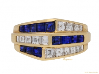 front view Oscar Heyman Brothers sapphire and diamond ring, American, circa 1960.berganza hatton garden