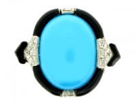 Art Deco turquoise diamond and enamel ring in platinum, circa 1925.