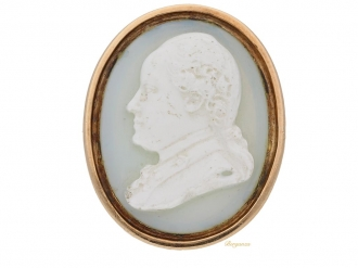 front view Early hardstone cameo ring. berganza hatton garden
