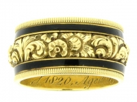 Georgian memorial ring with secret compartment, circa 1820.