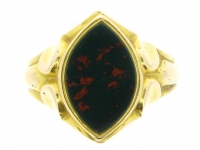 Antique bloodstone signet ring in 15ct yellow gold, circa 1872.
