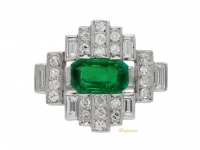 front view Art Deco emerald and diamond ring, circa 1935.