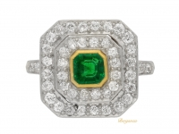 front view Antique emerald and diamond coronet cluster ring, circa 1905.