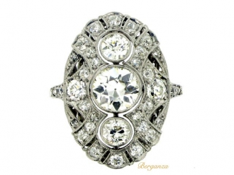 front-view-Diamond cluster ring, circa 1920.