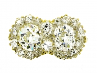 Old cut diamond double cluster ring, circa 1920.