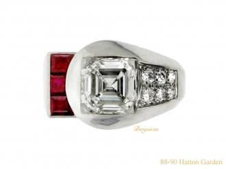front-view-vintage-Yard-diamond-ruby-ring-berganza-hatton-garden