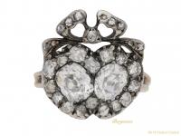 front-view-Antique-diamond-double-heart-ring-berganza-hatton-garden