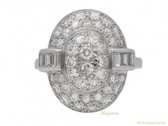 front-view-Vintage-oval-diamond-cluster-ring-berganza-hatton-garden