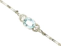Aquamarine and diamond  bracelet,  Russian, circa 1900.