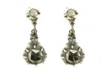 Georgian pair of rose diamond earrings in silver and gold circa 1800.