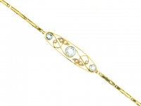 Antique aquamarine and pearl bracelet, English, circa 1900.