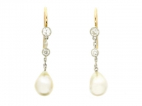 Antique natural pearl and diamond earrings, English, circa 1910.