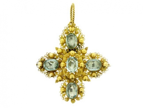 Georgian aquamarine pendant brooch, circa 1810.