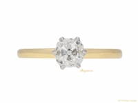 fron-view-Solitaire-cushion-shape-diamond-ring,-circa-1910.-berganza-hatton-garden