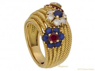 front sapphire ruby diamond dress ring berganza hatton garden