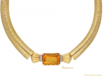 front vintage citrine diamond necklace hatton garden berganza