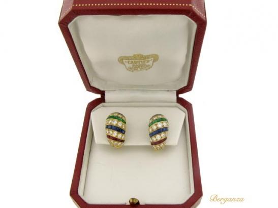boxed cartier ruby diamond sapphire emerald earrings berganza