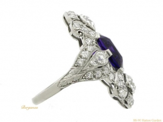 front view Dreicer  amethyst diamond ring hatton garden berganza
