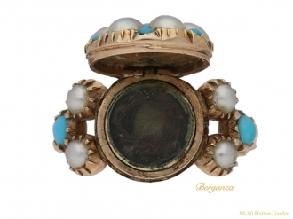 front Antique pearl turquoise ring berganza hatton garden