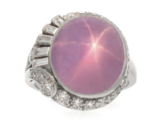 front view J. Milhening Inc. star sapphire and diamond ring, Chicago, American, circa 1935.