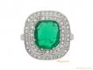 alt='antique Emerald diamond cluster ring berganza hatton garden'