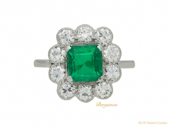 Emerald and diamond coronet cluster ring, berganza hatton garden