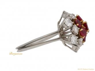 front Boucheron ruby diamond coronet ring berganza hatton garden