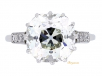 front view Cushion shape old mine diamond ring