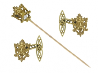 front view Antique cufflinks and stick pin, French, circa 1890