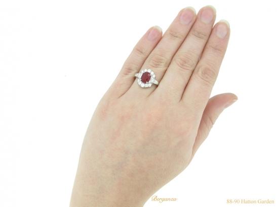 hand view Art Deco ruby diamond ring berganza hatton garden