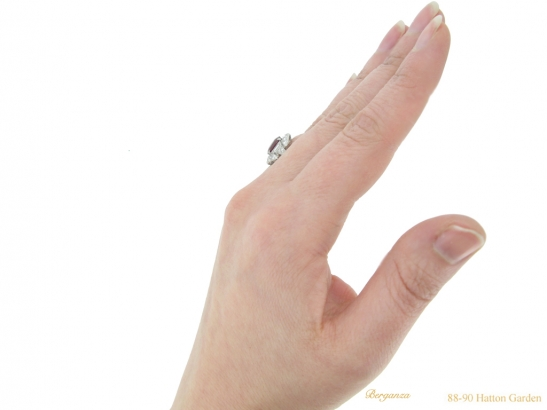 hand veiw Art Deco ruby diamond ring berganza hatton garden