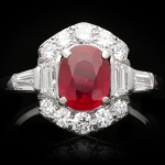 Art Deco Burmese ruby and diamond ring, circa 1935.