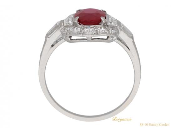 back view Art Deco ruby diamond ring berganza hatton garden