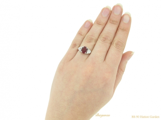 hand view Pigeon Blood Burmese ruby and diamond ring, circa 1935. berganza hatton garden