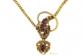 alt='front view Antique garnet and pearl set snake necklace'