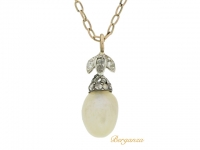 front view Antique natural pearl and diamond pendant