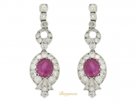 front view antique diamond ruby earrings berganza hatton garden