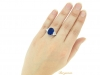 hand view Natural Royal Blue Burmese sapphire and diamond ring